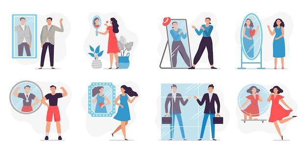 Ludzie patrząc w lustro. kochaj i dumny, człowiek szczęśliwy widząc odbicie w lustrze i ilustracji motywacji.