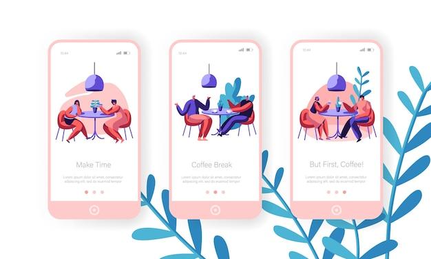 Ludzie piją kawę mobilną stronę aplikacji ekran na pokładzie zestawu. mężczyzna i kobieta rozmawiają przy stole w kawiarni. koncepcja lunch biznesowy dla strony internetowej kafeterii lub strony internetowej. ilustracja wektorowa płaski kreskówka