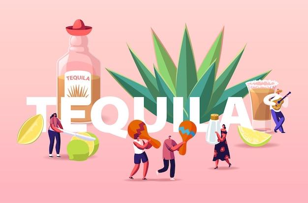 Ludzie Piją Tequilę Ilustracji Premium Wektorów