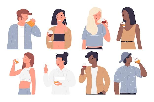 Ludzie piją zestaw młodych szczęśliwych postaci z kreskówek do picia