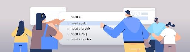 Ludzie piszący potrzebują pracy w pasku wyszukiwania na wirtualnym ekranie