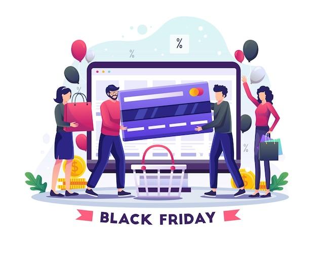 Ludzie płacący za zakupy kartami kredytowymi na ilustracji wektorowych w czarny piątek