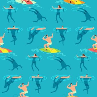 Ludzie pływający i nurkujący w oceanie. lato czas na plażowego egzotycznego rocznika bezszwowym wzorze