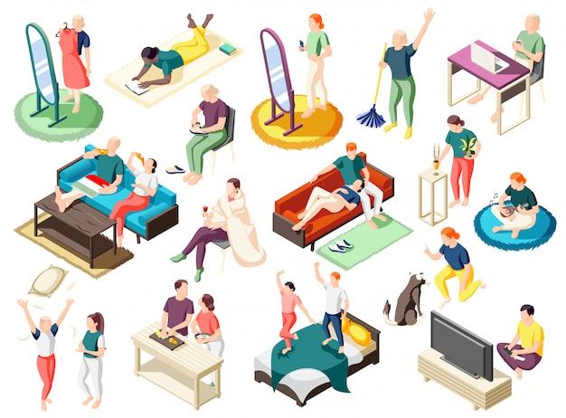 Ludzie podczas różnych działań w domu na weekend zestaw ikon izometryczny na białym tle