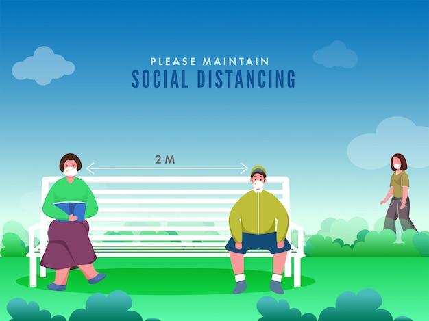 Ludzie podczas używania maski medycznej usiądź na ławce ogrodowej z zachowaniem dystansu społecznego, aby zapobiec koronawirusowi.
