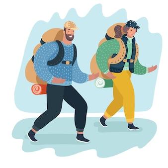 Ludzie podróżują para z plecakiem idą na kemping na wakacje wektor ilustracja płaska konstrukcja