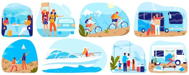 Ludzie podróżują, turystyka wektor zestaw ilustracji. kreskówka mieszkanie mężczyzna kobieta turystycznych znaków podróżujących statkiem, samolotem, pociągiem lub autobusem samochodowym, jazda na rowerze w przyrodzie