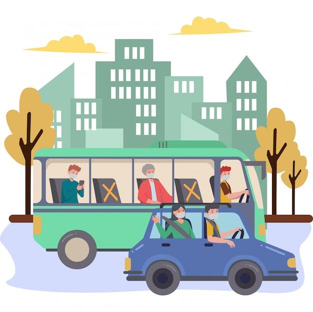 Ludzie podróżują za pomocą ilustracji samochodów i autobusów