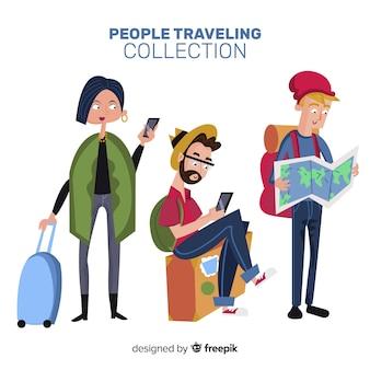 Ludzie podróżujący collectio