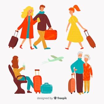 Ludzie podróżujący kolekcja