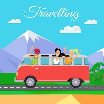 Ludzie podróżujący minibusem