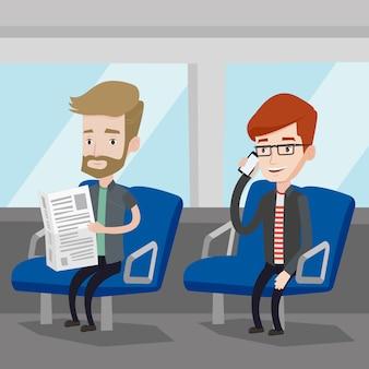 Ludzie podróżujący transportem publicznym.