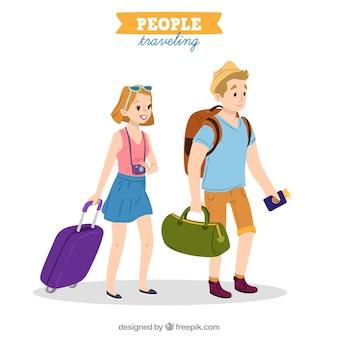 Ludzie podróżujący w stylu wyciągnąć rękę