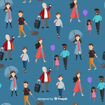 Ludzie podróżujący wzór