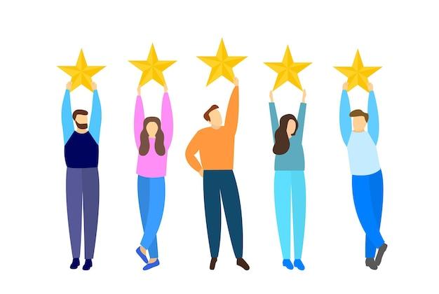 Ludzie pokazują opinie klientów. ocena, pięć gwiazdek. płaski styl.