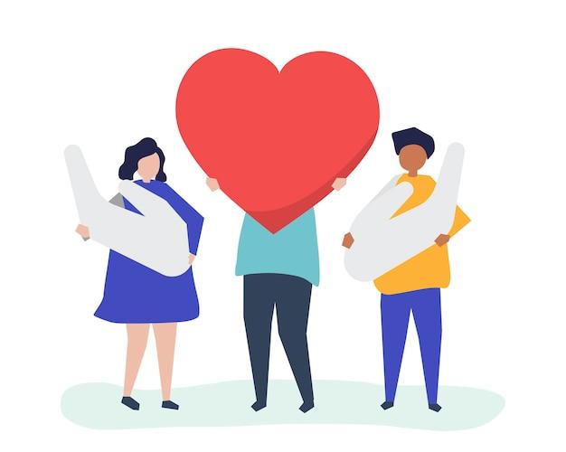 Ludzie posiadający ikony serca i dłoni