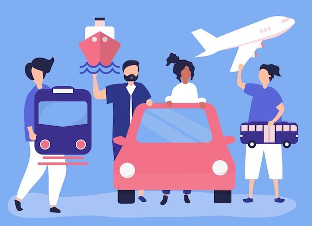 Ludzie posiadający różne ikony transportu
