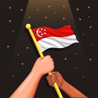 Ludzie posiadający symbol flagi singapuru dzień niepodległości singapuru 9 sierpnia 1965 wektor ilustracja