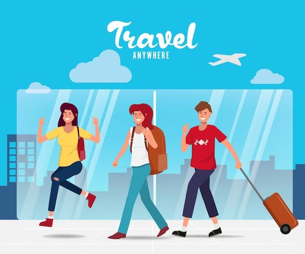 Ludzie postaci podróżujących w wakacje z torbą podróżną na lotnisku.