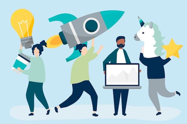 Ludzie postaci posiadających ikony kreatywnych koncepcji biznesowych