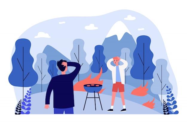Ludzie powodujący pożar lasu