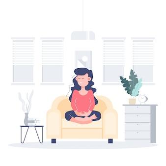 Ludzie pozostają w domu podczas medytacji podczas koronawirusa. covid-19 płaskiego charakteru pojęcia abstrakcjonistyczni ludzie. opieka zdrowotna i medyczna.