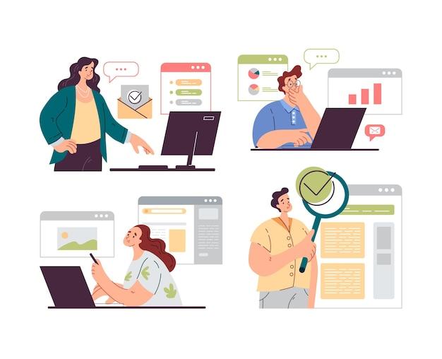 Ludzie pracowników biurowych znaków analizy i audytu procesów biznesowych na białym tle zestaw