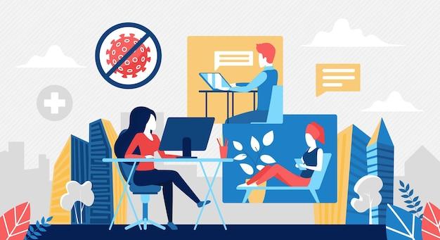 Ludzie pracują online, pozostają w domu podczas kwarantanny koronawirusa
