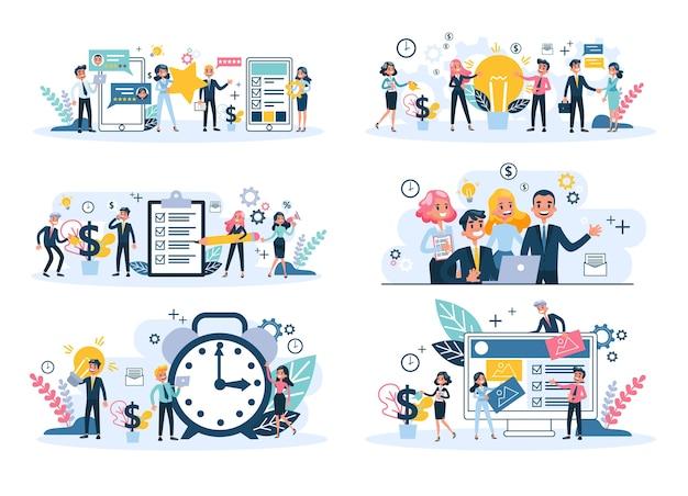 Ludzie pracują razem w zespole. strategia i biznes