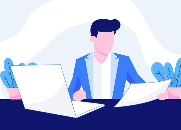 Ludzie pracują w biurze ilustracji