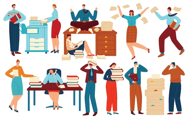 Ludzie pracują z dokumentami biurowymi wektor zestaw ilustracji. mężczyzna kobieta pracownika znaków pracy z folderów papieru stos na biurku
