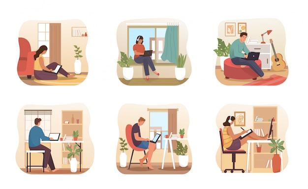 Ludzie pracują z domu. niezależny pracownik pracujący zdalnie z domu