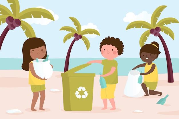 Ludzie pracujący razem nad czyszczeniem plaży