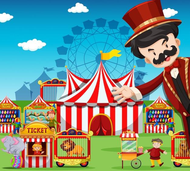 Ludzie pracujący w cyrku