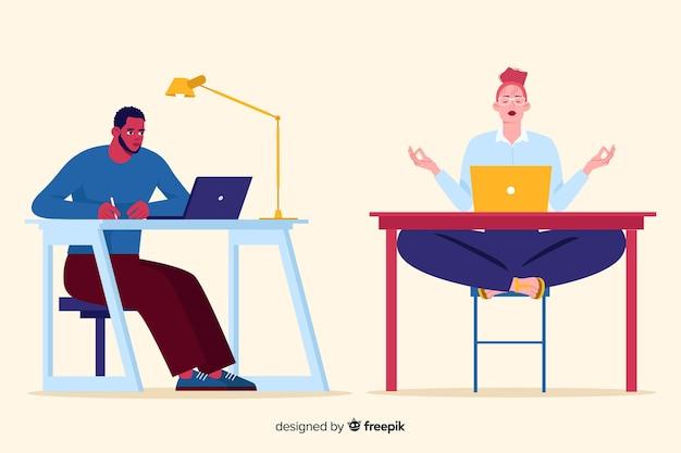 Ludzie pracujący w płaskiej konstrukcji biura