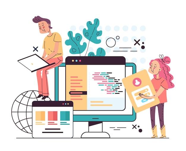 Ludzie programiści pracownicy postaci tworzący kod programu