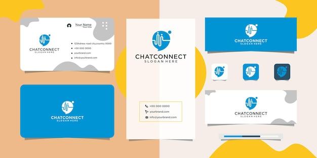 Ludzie projektują logo udostępniają czat i wizytówkę