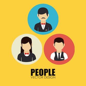 Ludzie projektują żółtą ilustrację