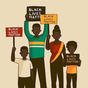 Ludzie protestujący przeciwko dyskryminacji rasowej
