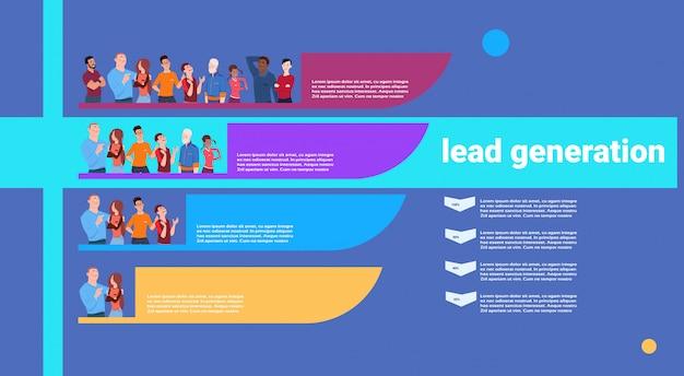 Ludzie prowadzą etapy pokolenia etapy biznesu infografikę. kolorowy schemat koncepcji na białym tle kopia przestrzeń płaska