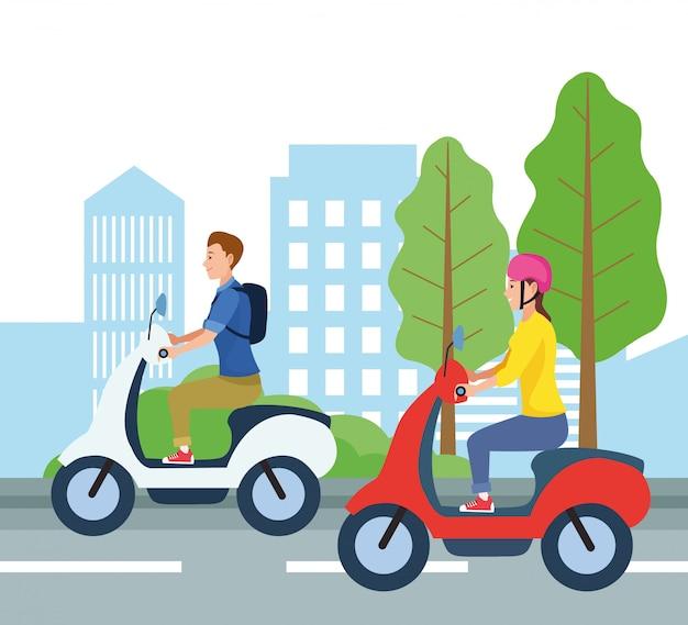 Ludzie prowadzący motocykl