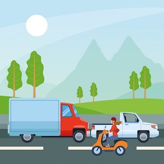 Ludzie prowadzący samochody i motocykle