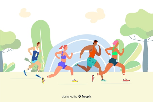 Ludzie prowadzący wyścig maratoński