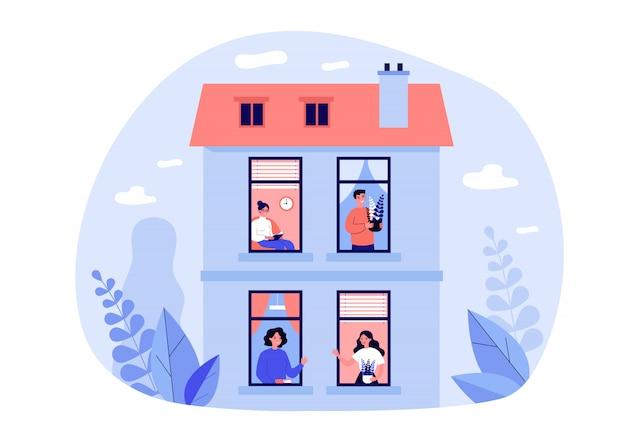 Ludzie przebywający w domu pod kwarantanną