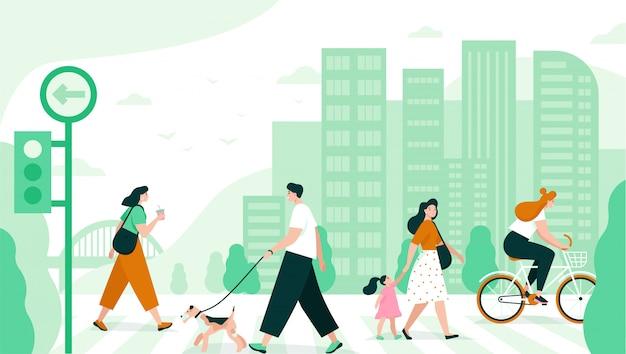 Ludzie przechodzą przez ulicę w mieście. płaska ilustracja.