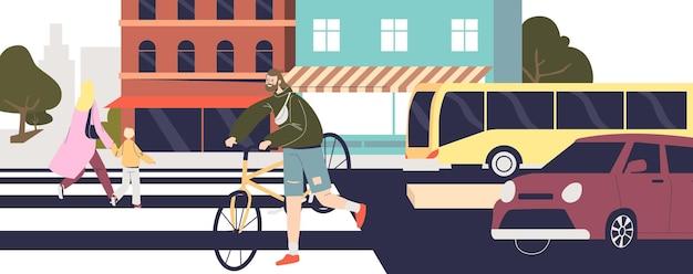 Ludzie przechodzący przez ulicę na przejściu dla pieszych. ulica miasta z samochodami i pieszymi idącymi na zebrę na drugą stronę drogi. koncepcja bezpiecznego skrzyżowania. ilustracja kreskówka płaski wektor