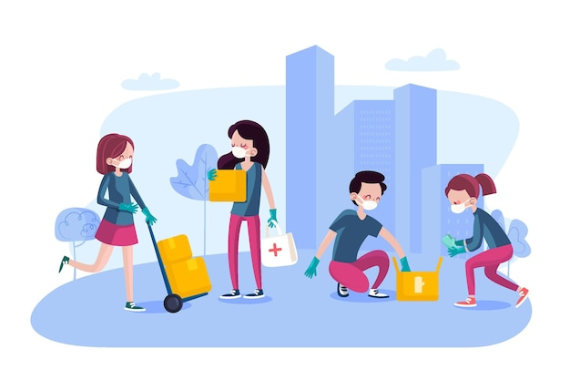 Ludzie przekazujący darowiznę i pomagający społeczeństwu