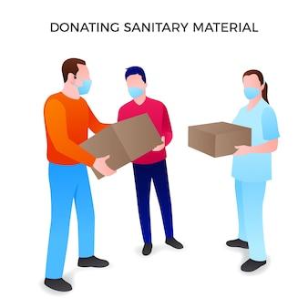 Ludzie przekazujący materiały sanitarne