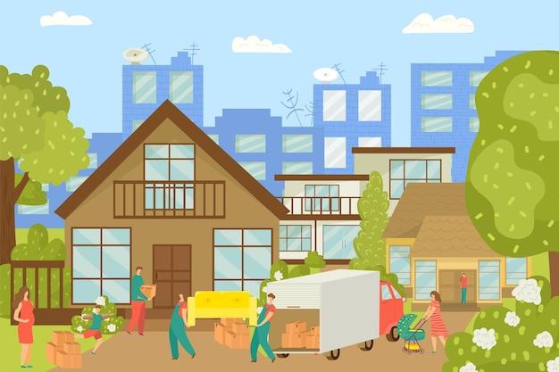 Ludzie przeprowadzający się, nowy dom i pracownicy niosący meble, ilustracja kartonów. szczęśliwi ludzie w nowym domku. przeprowadzka do wiejskiego domu. nieruchomości