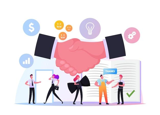 Ludzie przestrzegają etykiety biznesowej. biznesmeni i kobiety biznesu noszą formalne garnitury, uścisk dłoni rozpoczynając negocjacje, postacie w biurze, koncepcja współpracy zespołowej partnerstwa. ilustracja kreskówka wektor